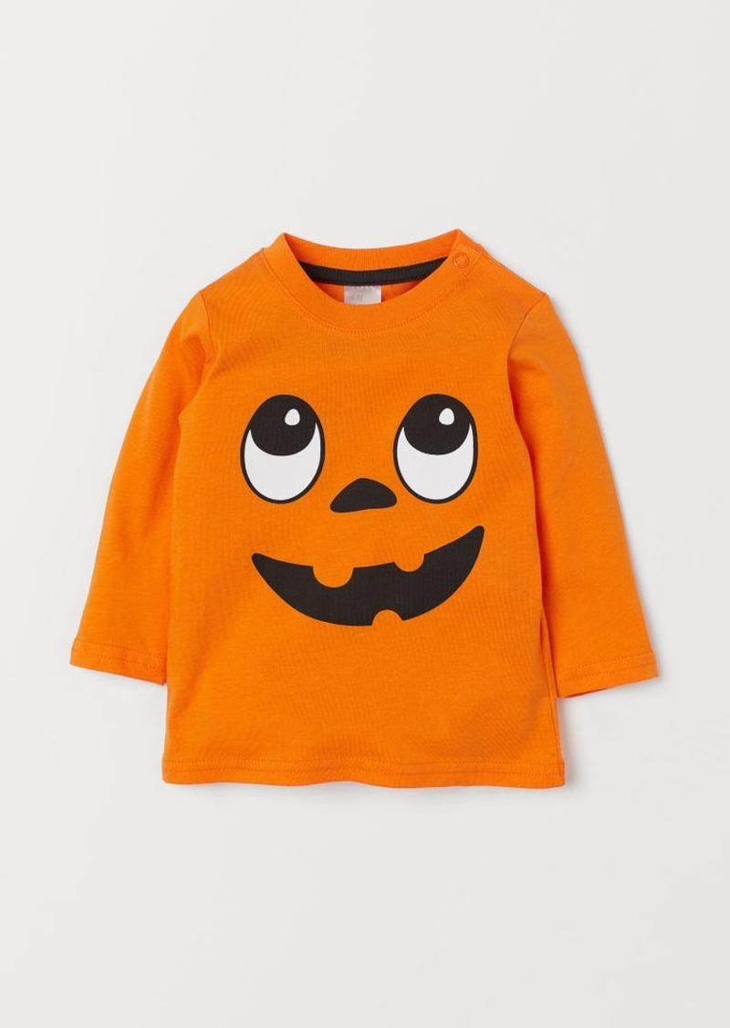H&M H & M - Printed Jersey Shirt - Orange
