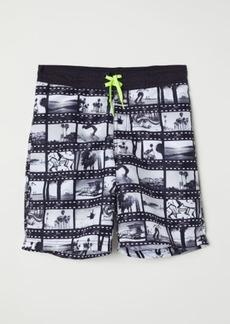 H&M H & M - Printed Swim Shorts - Black