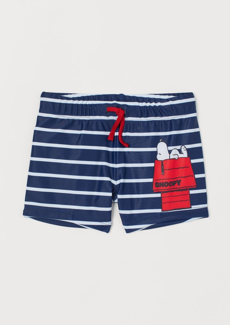 H&M H & M - Printed Swim Trunks - Blue