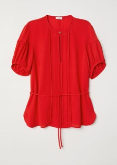 H&M H & M - Puff-sleeved Blouse - Red