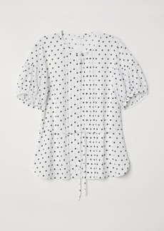 H&M H & M - Puff-sleeved Blouse - White
