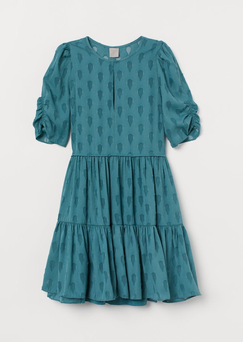 H&M H & M - Puff-sleeved Dress - Turquoise