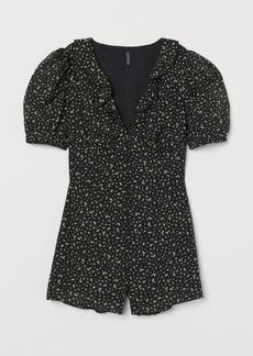 H&M H & M - Puff-sleeved Romper - Black