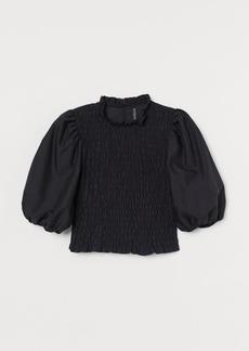 H&M H & M - Puff-sleeved Smocked Blouse - Black