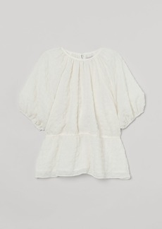 H&M H & M - Puff-sleeved Top - White