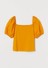 H&M H & M - Puff-sleeved Top - Yellow
