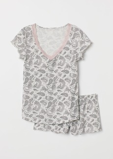 H&M H & M - Pajama Top and Shorts - Gray