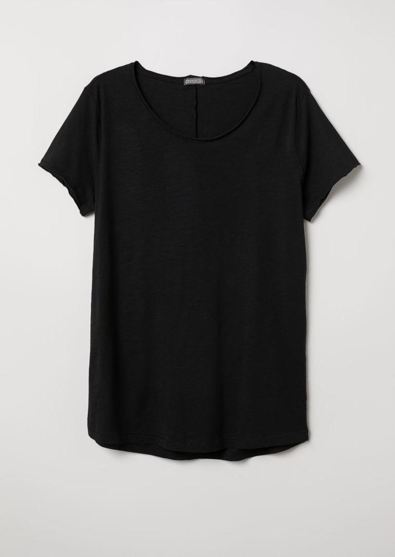 H&M H & M - Raw-edge T-shirt - Black