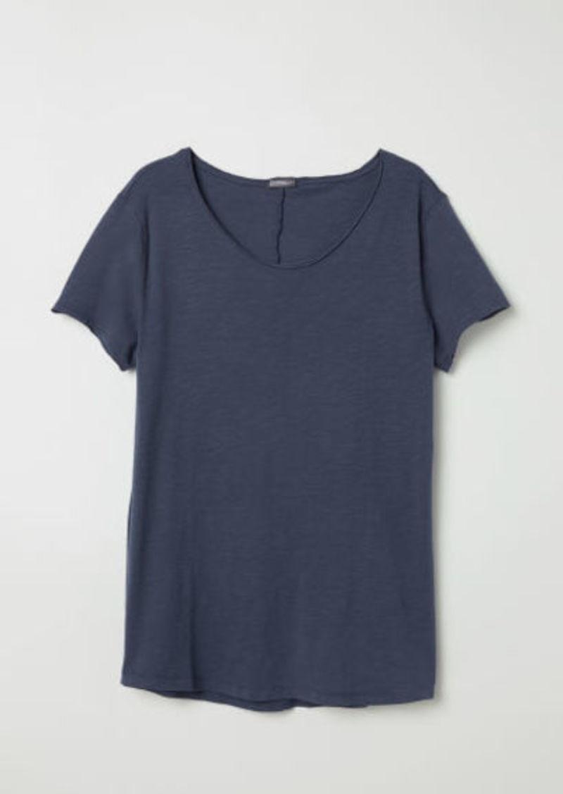 H&M H & M - Raw-edge T-shirt - Blue