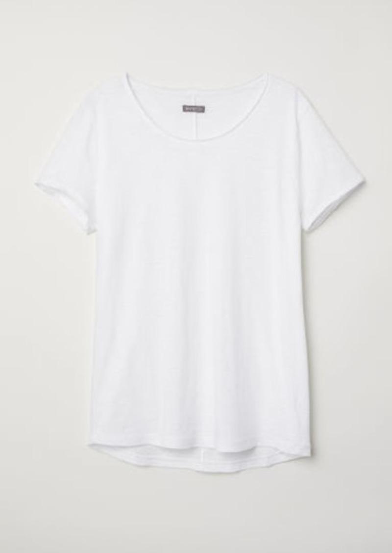 H&M H & M - Raw-edge T-shirt - White