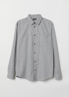 H&M H & M - Regular Fit Flannel Shirt - Gray