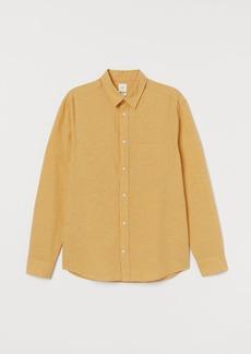 H&M H & M - Regular Fit Linen-blend Shirt - Yellow