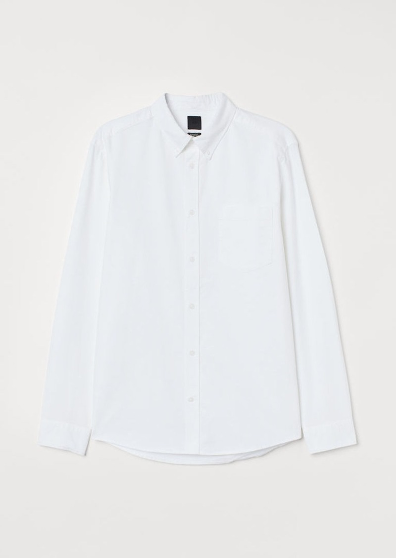 H&M H & M - Regular Fit Oxford Shirt - White