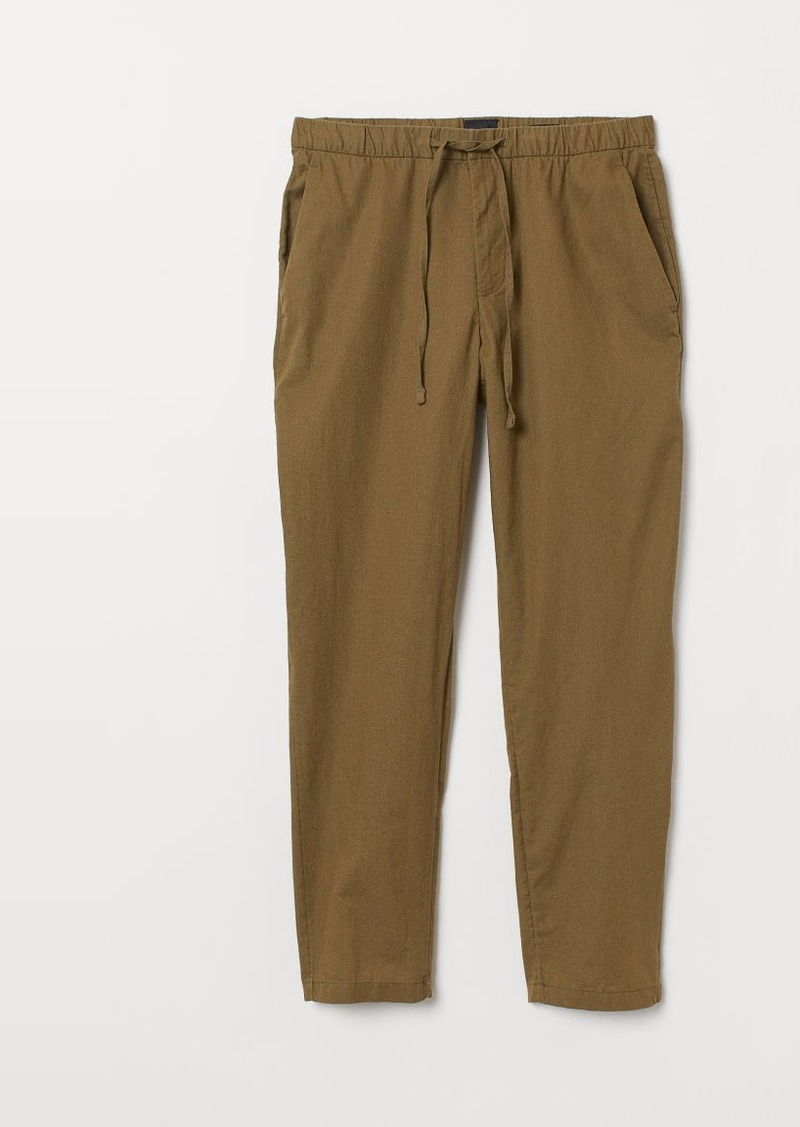 H&M H & M - Relaxed Fit Linen-blend Pants - Beige