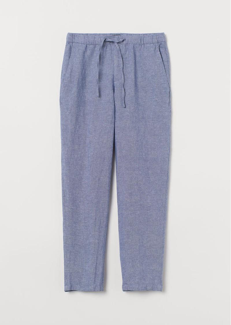 H&M H & M - Relaxed Fit Linen-blend Pants - Blue