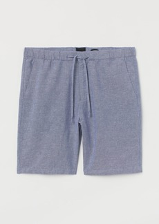 H&M H & M - Relaxed Fit Linen-blend Shorts - Blue