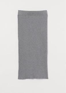 H&M H & M - Rib-knit Cotton-blend Skirt - Gray