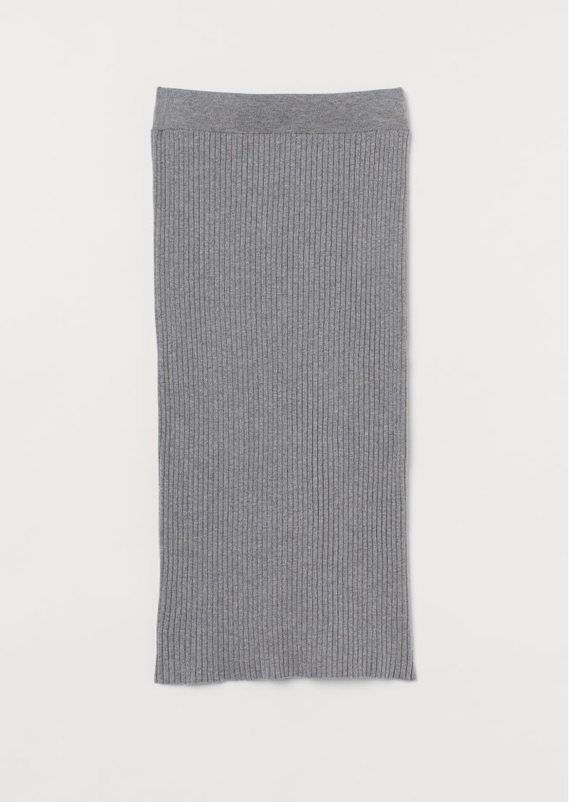 H&M H & M - Rib-knit Cotton-blend Skirt - Gray