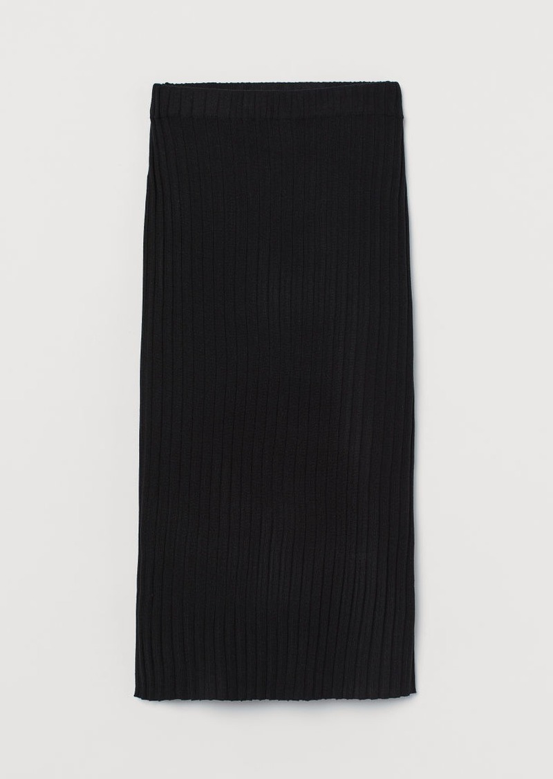 H&M H & M - Rib-knit Skirt - Black