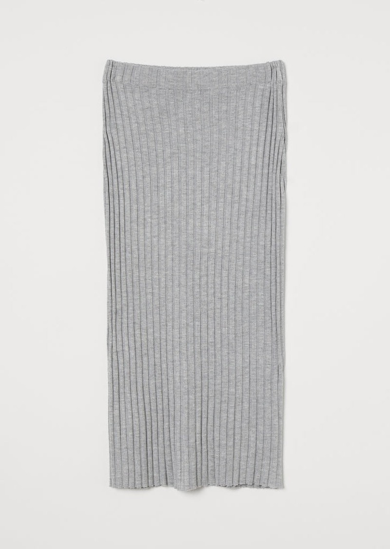 H&M H & M - Rib-knit Skirt - Gray