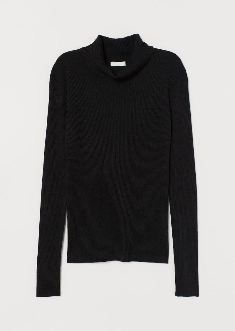 H&M H & M - Rib-knit Turtleneck Sweater - Black