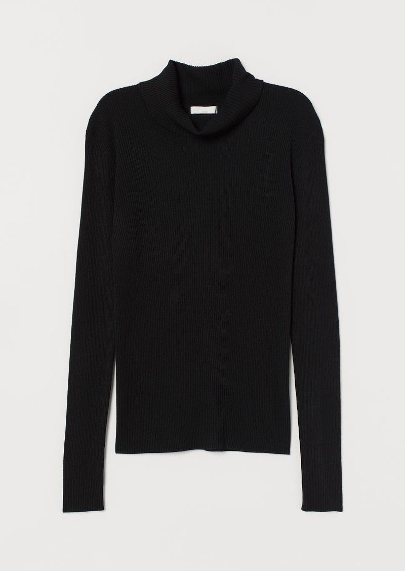 H&M H & M - Rib-knit Turtleneck Sweater - Black