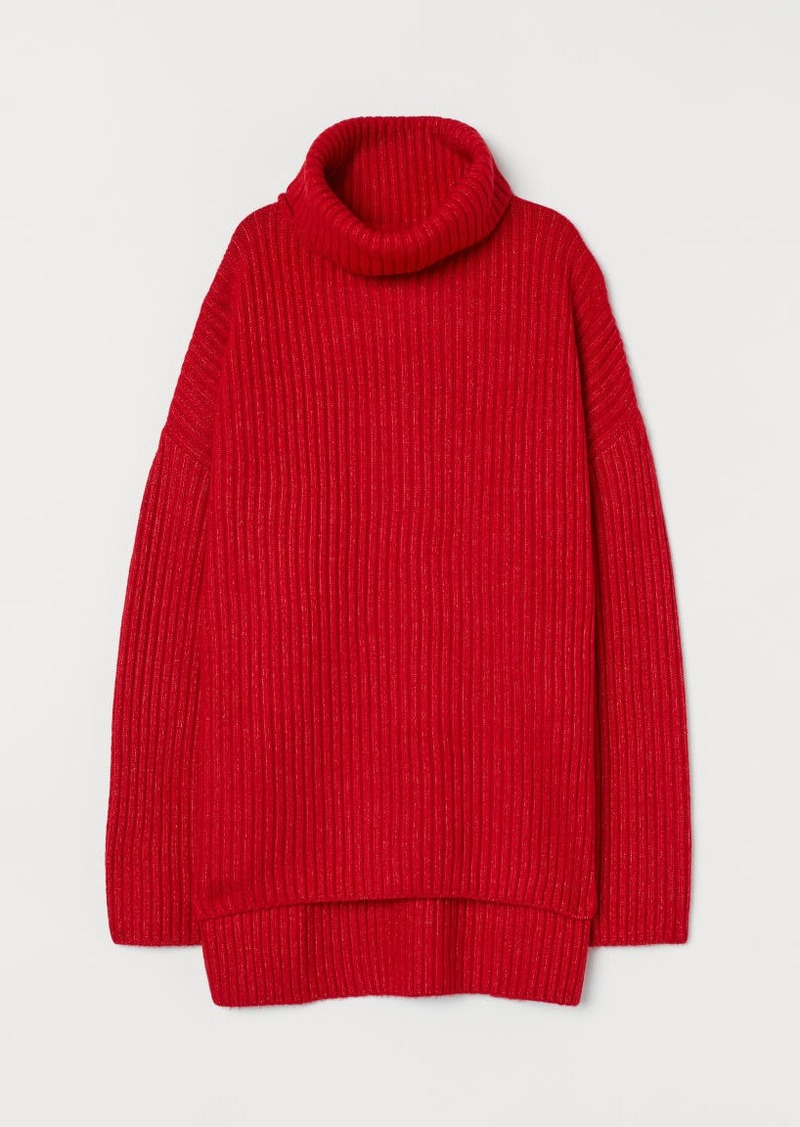 H&M H & M - Rib-knit Turtleneck Sweater - Red