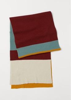 H&M H & M - Rib-knit Wool-blend Scarf - White