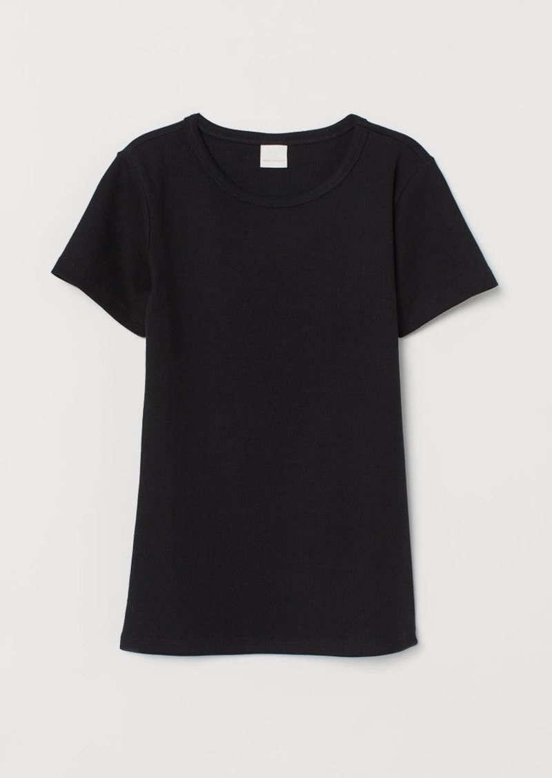 H&M H & M - Ribbed Cotton T-shirt - Black