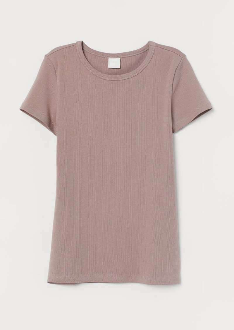 H&M H & M - Ribbed Cotton T-shirt - Brown