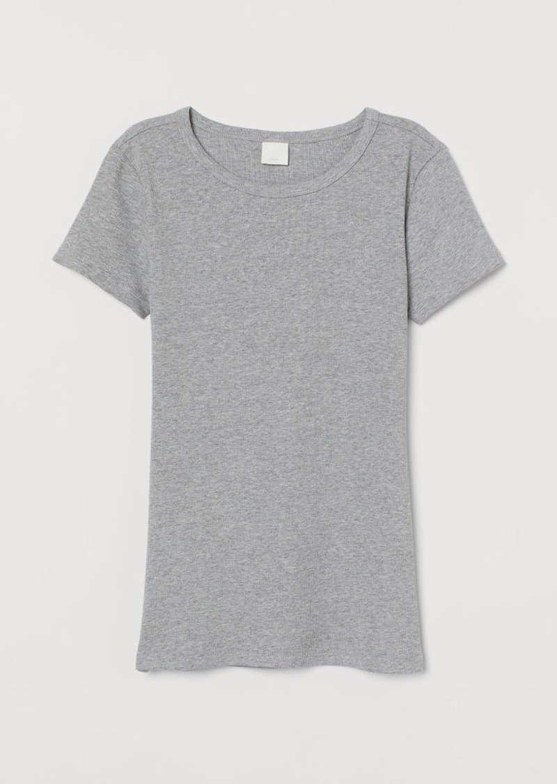 H&M H & M - Ribbed Cotton T-shirt - Gray
