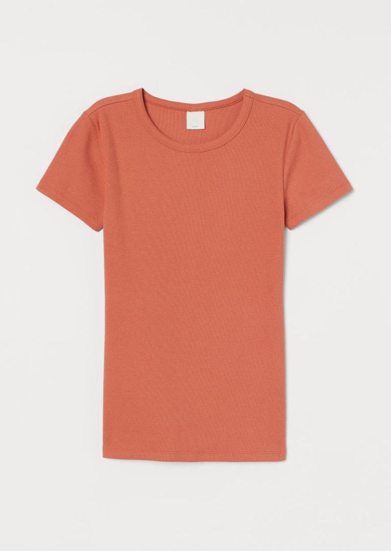 H&M H & M - Ribbed Cotton T-shirt - Orange