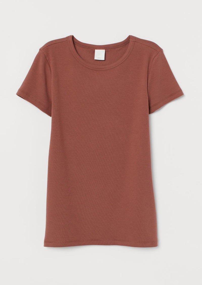 H&M H & M - Ribbed Cotton T-shirt - Orange