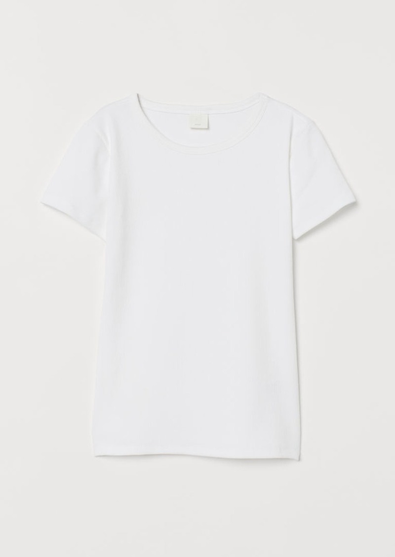 H&M H & M - Ribbed Cotton T-shirt - White