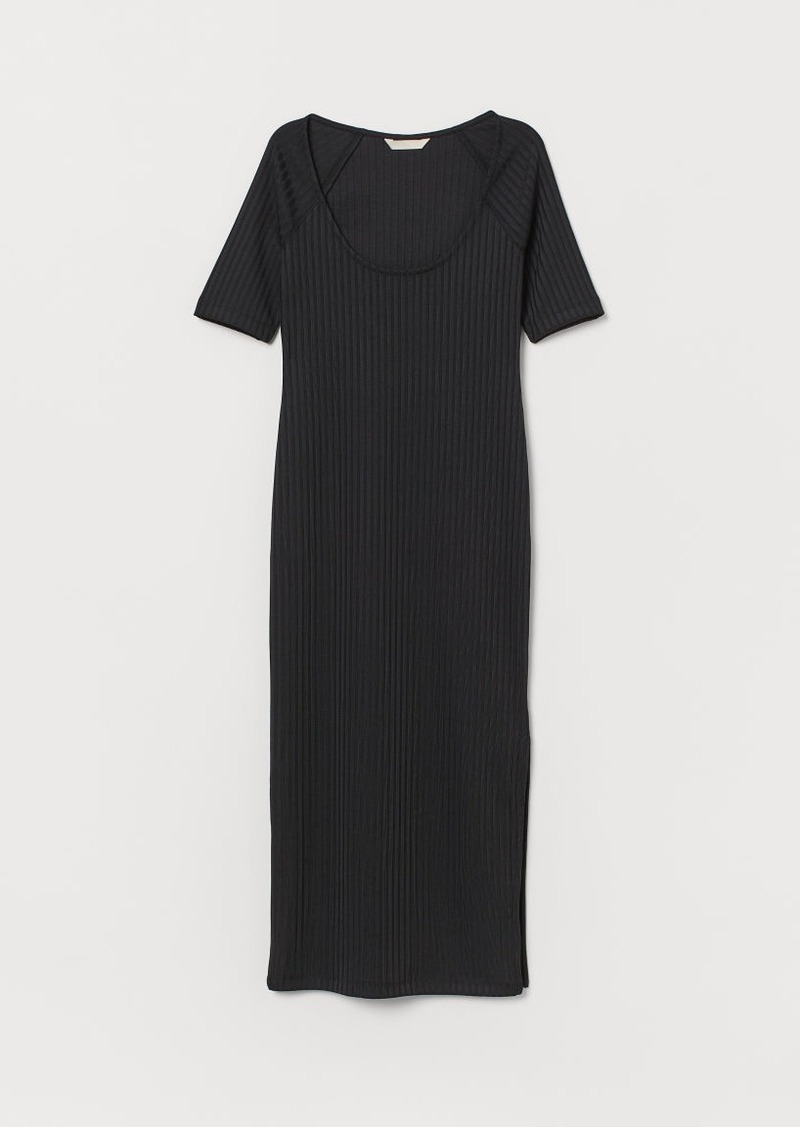 H&M H & M - Ribbed Dress - Black