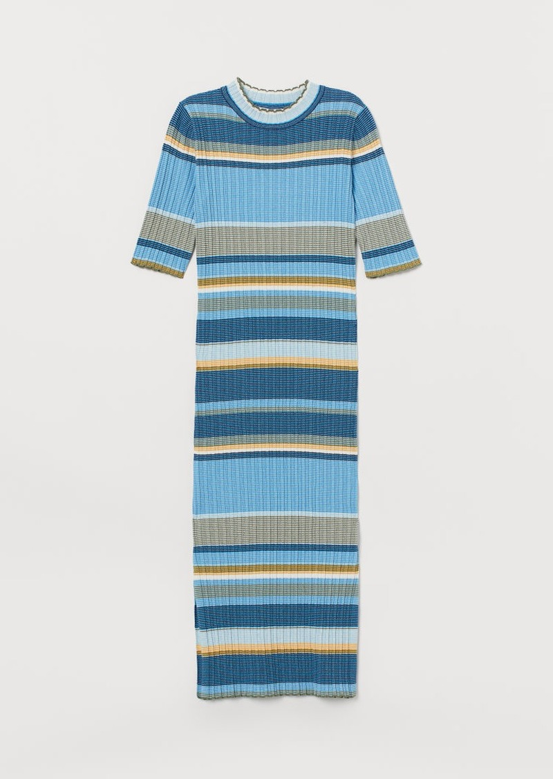 H&M H & M - Ribbed Dress - Blue