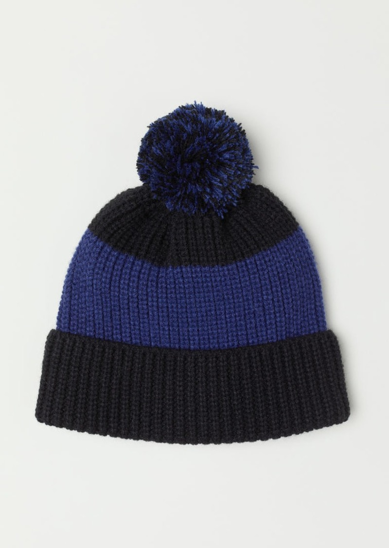 H&M H & M - Ribbed Hat with Pompom - Blue