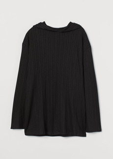 H&M H & M - Ribbed Hooded Sweater - Black