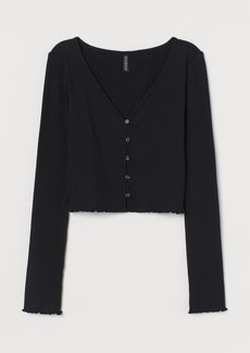 H&M H & M - Ribbed Jersey Cardigan - Black