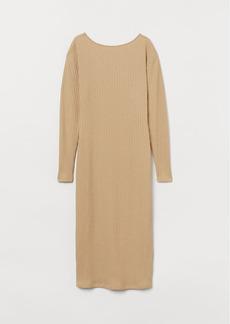 H&M H & M - Ribbed Jersey Dress - Beige