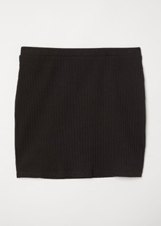 H&M H & M - Ribbed Jersey Skirt - Black