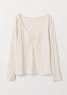 H&M H & M - Ribbed Jersey Top - Beige