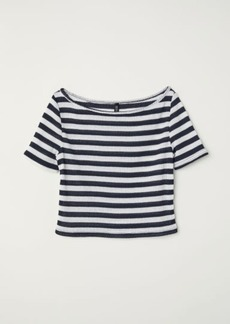 H&M H & M - Ribbed Jersey Top - Blue