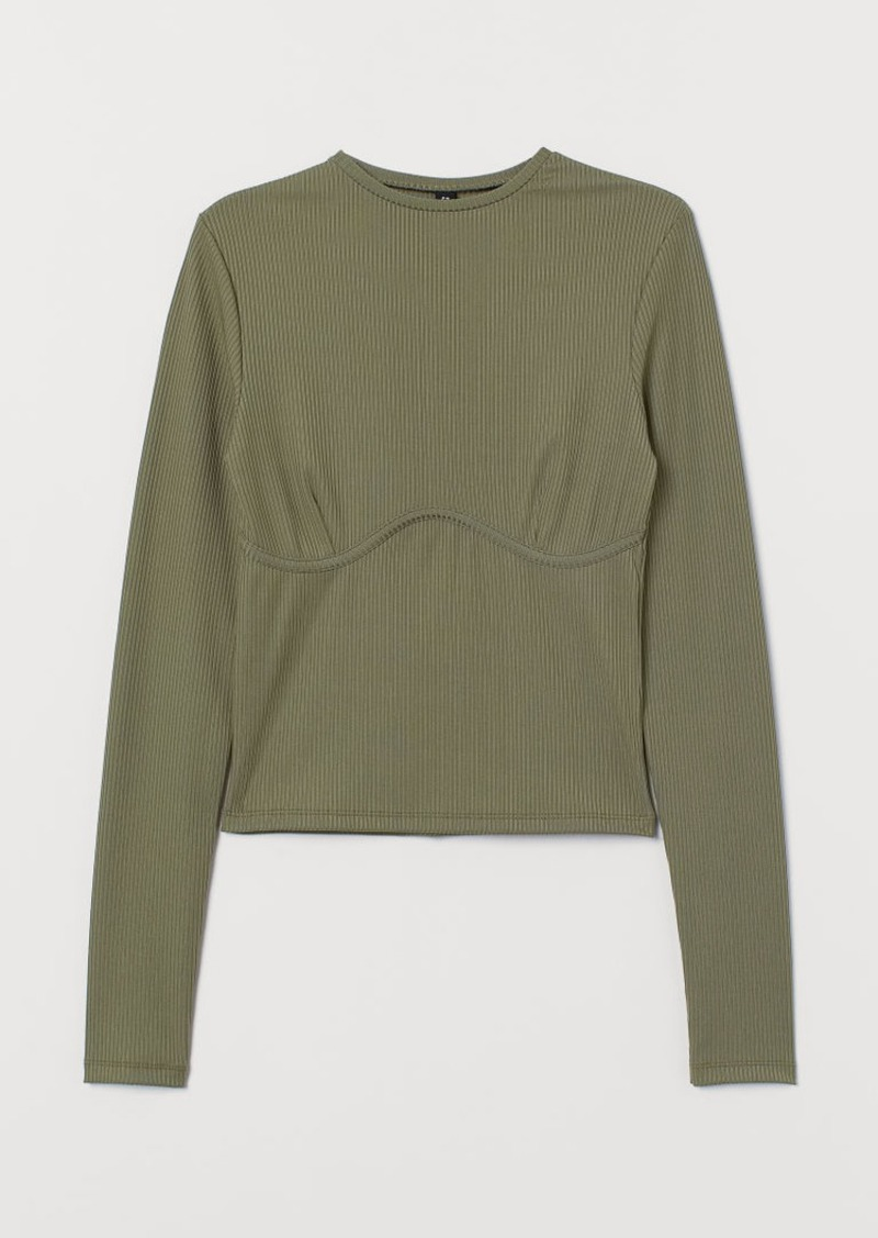 H&M H & M - Ribbed Jersey Top - Green