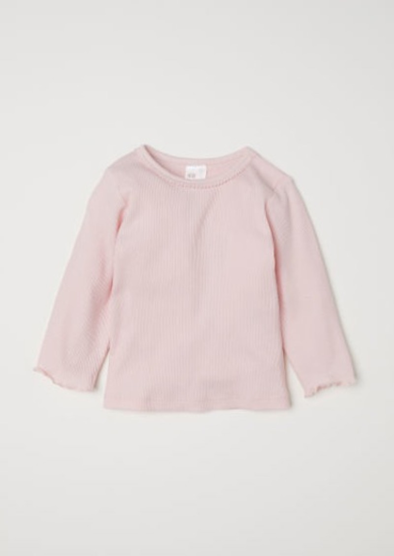 H&M H & M - Ribbed Jersey Top - Pink