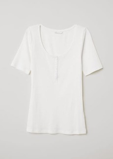 H&M H & M - Ribbed Jersey Top - White
