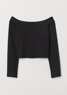 H&M H & M - Ribbed Off-the-shoulder Top - Black