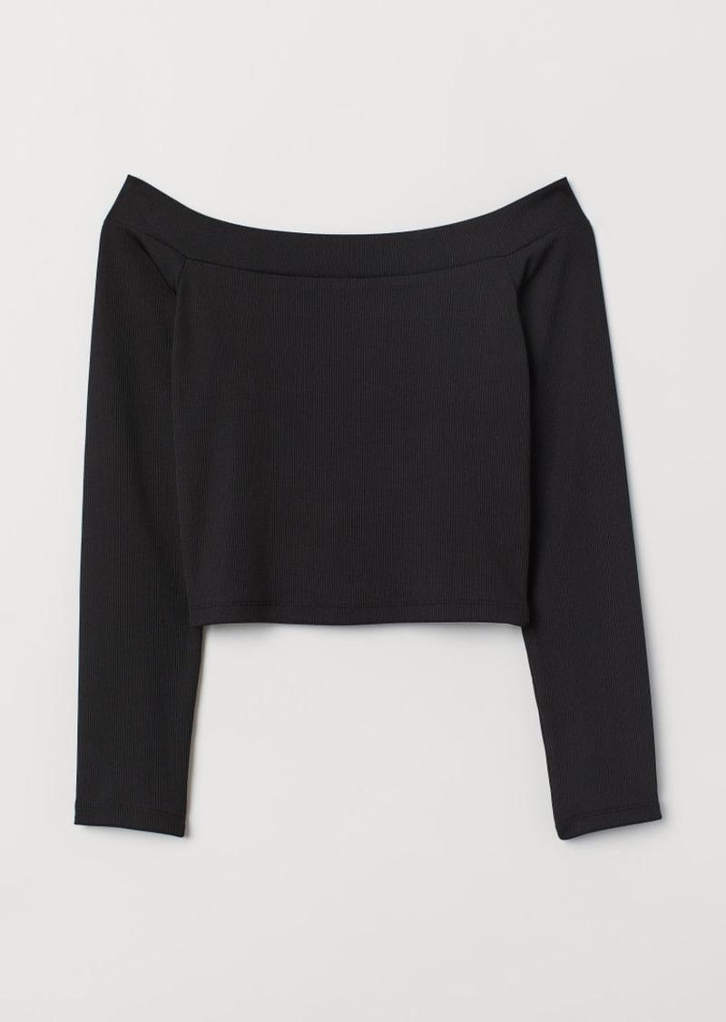 H&M H & M - Ribbed Off-the-shoulder Top - Black