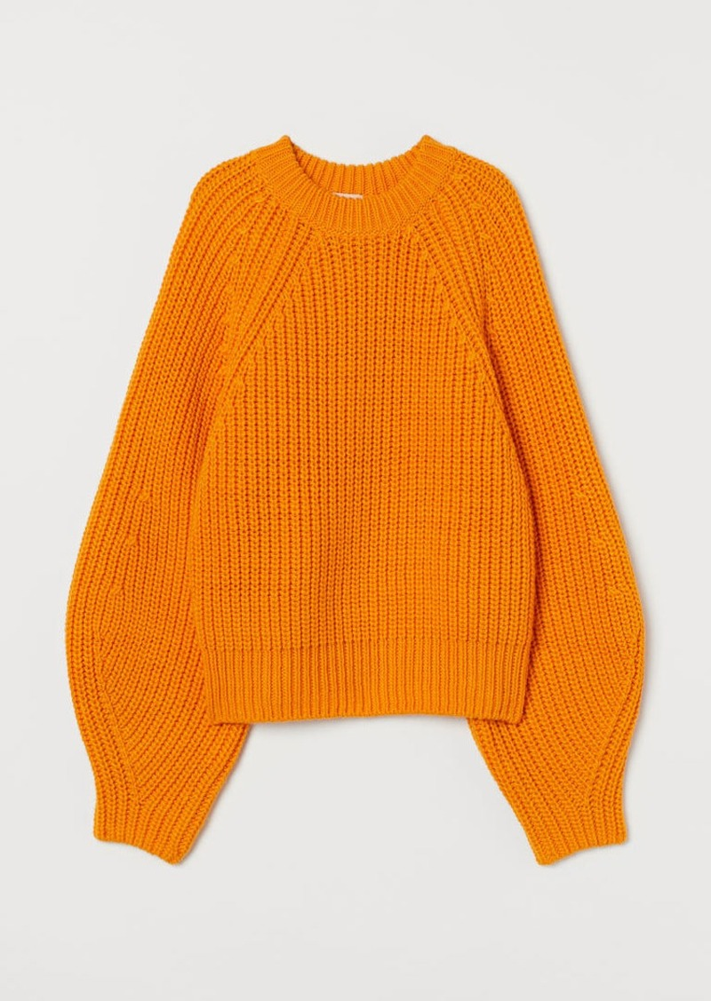 H&M H & M - Ribbed Sweater - Orange