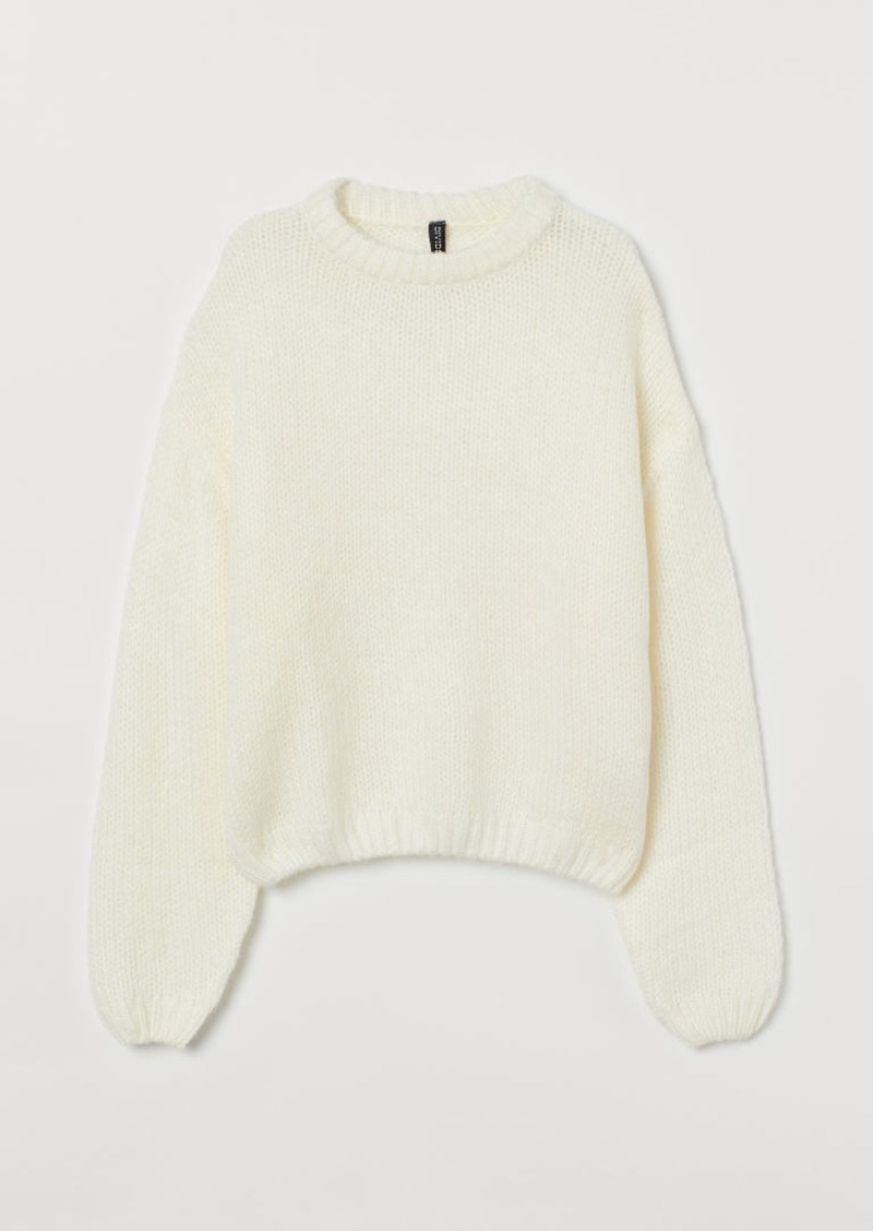 H&M H & M - Ribbed Sweater - White